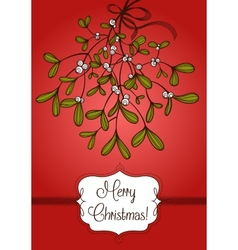 Red Christmas card with branch of mistletoe vector