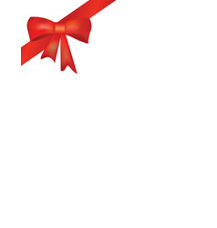 red ribbon and bow on white background vector image