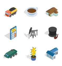 Requirement icons set isometric style vector