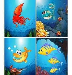 Sea animals living under ocean vector