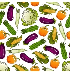 Seamless fresh farm vegetables pattern vector image