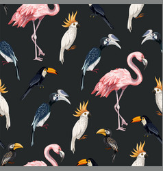 Seamless pattern with junngle bird such as vector