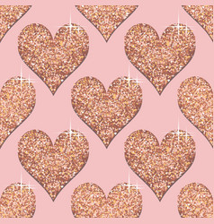 Seamless pattern with rose gold hearts pink vector