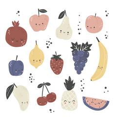set cute cartoon fruits vector image