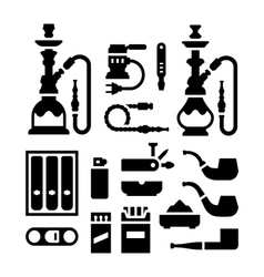 Set icons of smoking equipment and accessories vector image