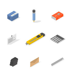 set icons office and school flat 3d isometric vector image