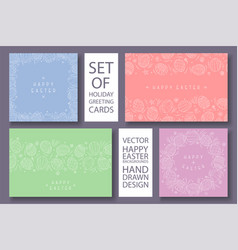 set of happy easter colorful cards with vector image