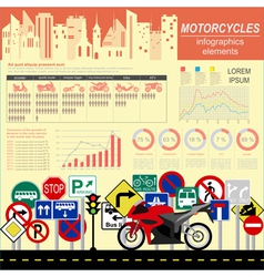 Set of motorcycles elements transportation vector image