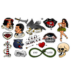 set vintage school tattoo characters playing vector image