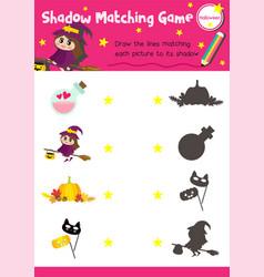 Shadow matching game halloween 5 vector