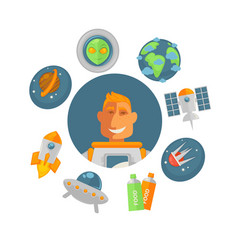 spaceman in pressure suit surrounded with planets vector image
