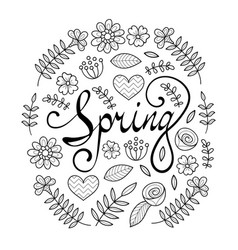 spring lettering in floral pattern round frame vector image