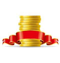 Stack coins with a red ribbon concept pecuni vector