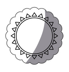 Sticker monochrome with abstract sun icon vector