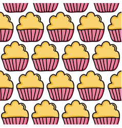 sweet cupcakes pastry bakery pattern vector image