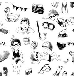 swimming school seamless pattern vector image