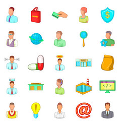 Teaching icons set cartoon style vector