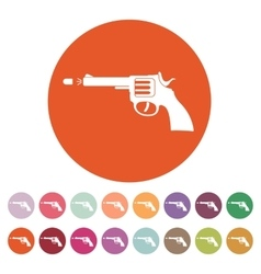 The gun icon Pistol and handgun weapon revolver vector image