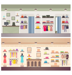 two designs of female clothing shops banner vector image