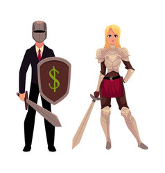 Two knights - modern businessman warrior and vector