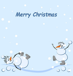 Two snowmen are playing snowballs it is snowing vector