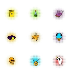Witchery icons set pop-art style vector image