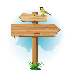 Wooden signs with leaf and bird vector