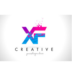 xf x f letter logo with shattered broken blue vector image