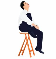Young business man sits on stool vector image
