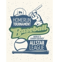 Baseball Tournament Print vector image vector image