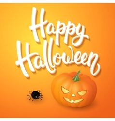 Halloween greeting card with brush lettering vector image
