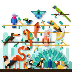 Jungle Birds Set vector image vector image
