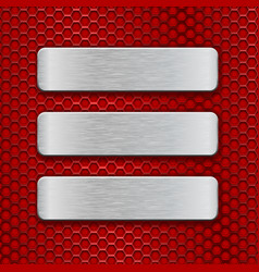 metal rectangular brushed plates on red perforated vector image vector image