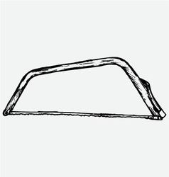 Metallic hacksaw with handle vector image