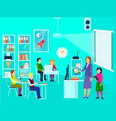 modern education classroom composition vector image