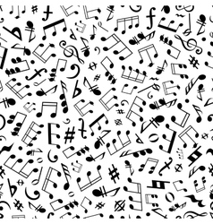Seamless music notes and marks background pattern vector image vector image