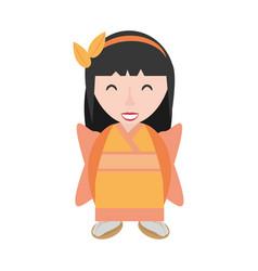 smiling geisha kimono diadem vector image