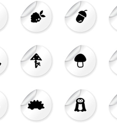 Stickers with woodland icons vector image