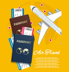 Air travel banner with world globe airline tickets vector