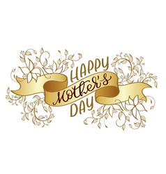 happy mothers day vintage text on gold vector image