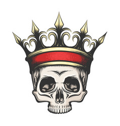 human skull in crown drawn in engraving style vector image vector image