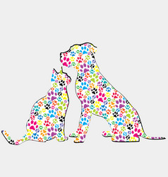 Silhouettes of cat and dog patterned in colored vector