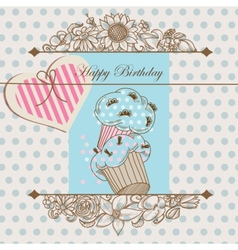 Birthday card or baby shower template vector image