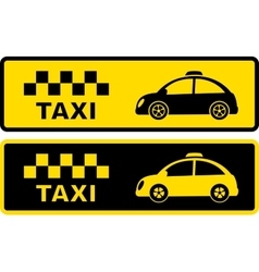 black and yellow retro taxi symbol vector image