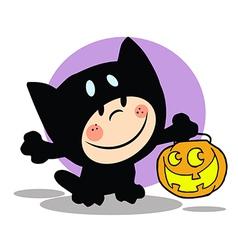 Cartoon child cat costume vector image