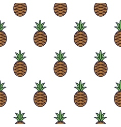 Pineapple line icon seamless pattern vector image vector image
