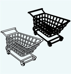 Shopping cart grocery trolley vector