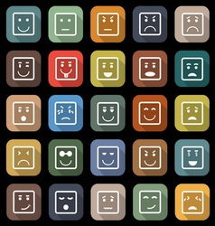 Square face flat icons with long shadow vector image vector image