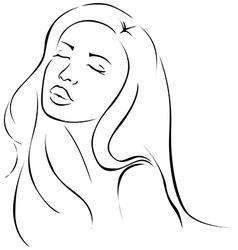 Beautiful sensual young woman - black line vector image vector image