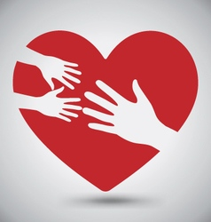 Hand of Adult and Kid on Red Heart vector image vector image